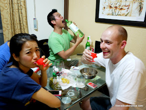 Photo: It was a fun night -- B shared with home made rice wine with us