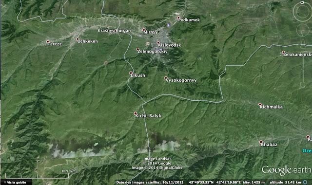 Carte : les environs de Kislovodsk