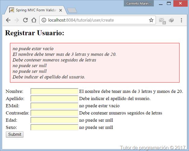 Spring MVC Validación formularios