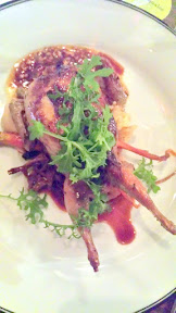Mushroom Stuffed Quail with Jacobsen Salt Baked Celeriac, Carrot, and Almond Pesto by Renata