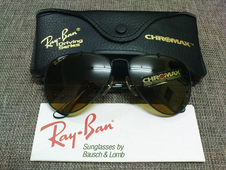 231e0b4af2 (SOLD)NOS Ray Ban Outdoorsman Matte Black B-20 Chromax Lenses(SOLD)