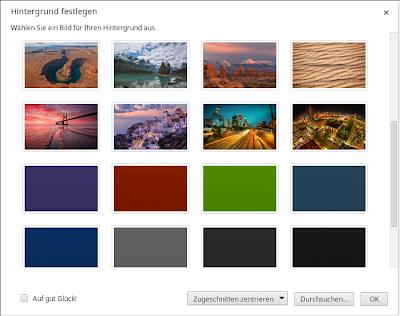 Google Chrome OS Hintergrund wählen