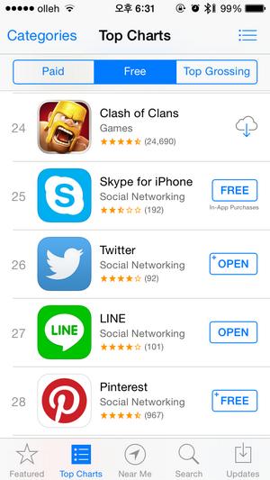 네이버 라인 아이폰 앱스토어 무료 앱 순위