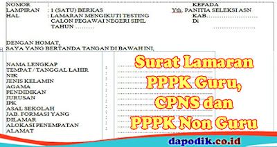 Surat Lamaran PPPK Guru, CPNS dan PPPK Non Guru