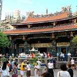 daily rituals at longshan temple in Taipei in Taipei, T'ai-pei county, Taiwan