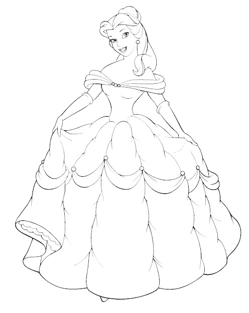 Disney Princess Belle And Her Gown Coloring Sheet To Paint On Canvas As  Silhouette