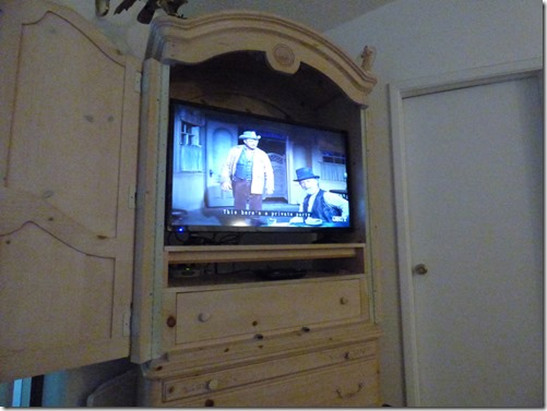 Flat Screen in TV Hutch