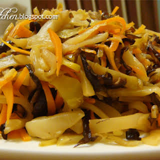 Stir-fried Sichuan Vegetable With Mushroom, Carrot and Black Fungus.