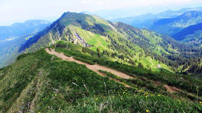 Vom Hochgrat Blick über den Abstiegspfad nach Osten zum Rindalphorn Nagelfluhkette