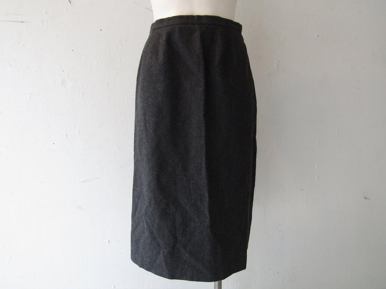 Hermes Gray Wool Skirt