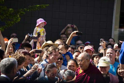 His Holiness the Dalai Lama outside of Maitripa College, Portland, Oregon, U.S., May 10, 2013. Photo by Leah Nash.