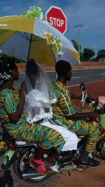 Bride and Groom on Okada (Motorcycles) On Their Wedding Day That Got People Talking [See Photo]