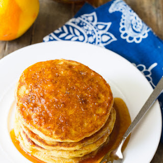 Cornmeal Pancakes with Orange Syrup