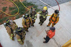 EVFD Trainees: Pete Bagarella, Allen Kitts, and Brett Wright with instructor Tommy Scott