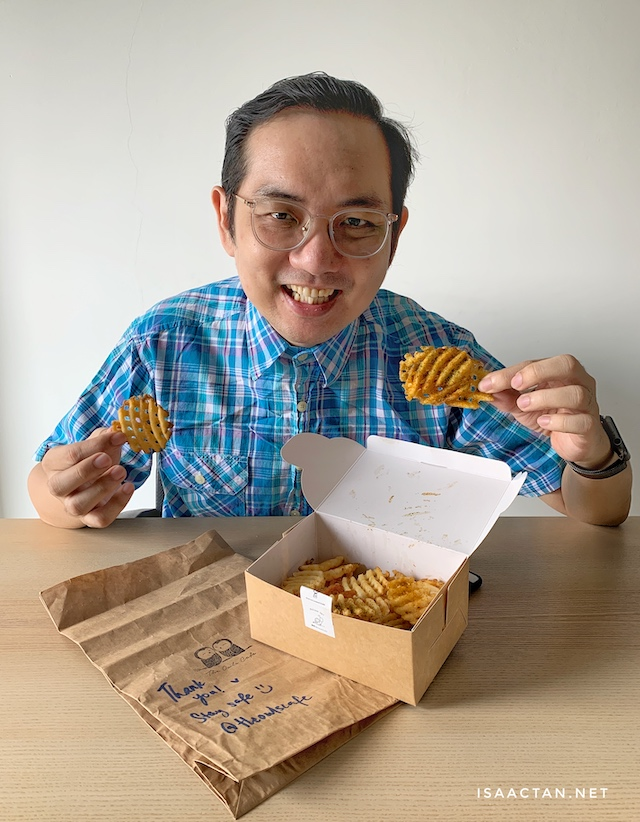 Happiness is me. Waffle U.S. Fries from The Owls Cafe