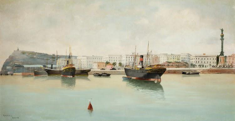 El vapor LA GIRALDA en Barcelona. Cuadro de Adolfo Giraldez y Peñalver titulado Puerto de Barcelona.jpg