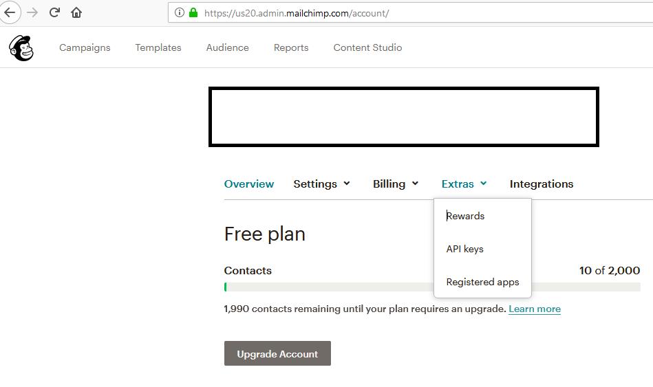 Mailchimp Account Extras API Key Menu
