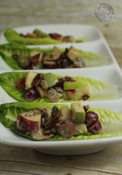 Apple pecan chicken salad lettuce wraps