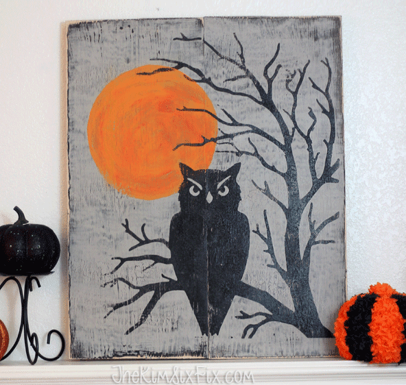 Distressed stenciled wooden sign halloween owl