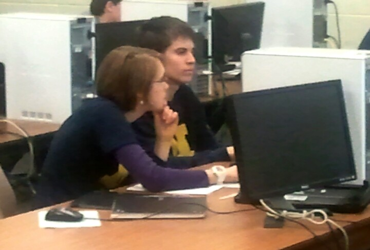 Students coding during the 2011 programming competition