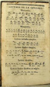 Tabla de equivalencia de las Lettres de la Civilité. Incluso variaciones y ligaduras