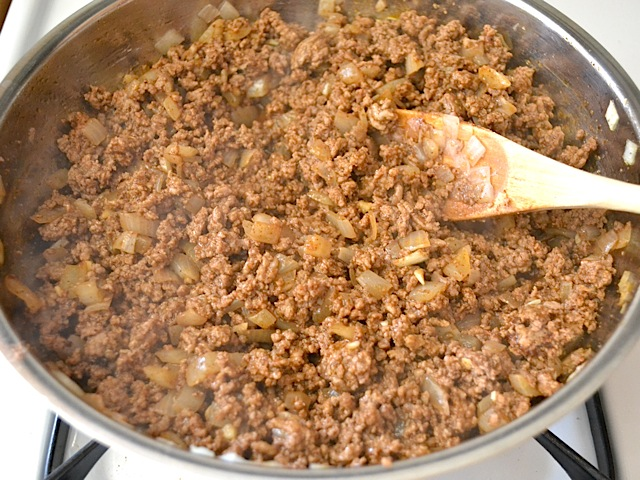 taco seasoning added to pan of beef
