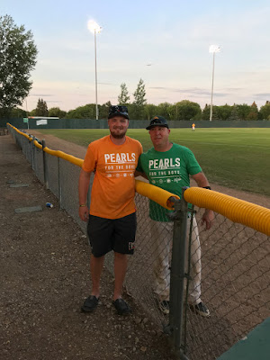 Carter Boehm (left) wearing orange version of Pearls tee shirt that was done for his team, The Hoppers.  Tyson Vogel (right) wearing Outlaws green version of Pearls tee shirt.  Quinn played briefly for Outlaws just prior to his passing.