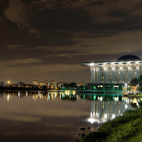 Iron Mosque Part III by Danial Abdullah - Buildings & Architecture Other Exteriors ( reflection, hdr, mosque, night, long exposure )