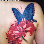 blue butterfly - Shoulder Blade Tattoos Designs