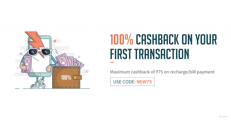 FreeCharge - Flat Rs.75 Cashback On Recharge of Rs.75 or More (New Users)