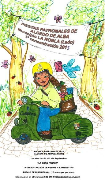 Cartel I Concentración Vespas y Lambrettas La Robla 2013