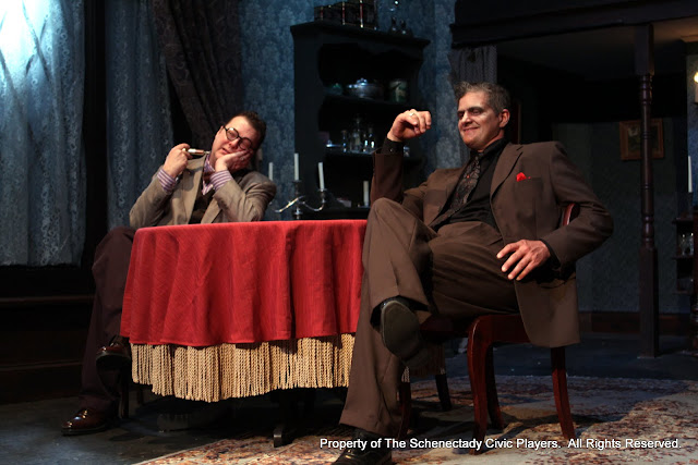 Richard Michael Roe and Daniel Martin in ARSENIC AND OLD LACE (R) - May 2011.  Property of The Schenectady Civic Players Theater Archive.