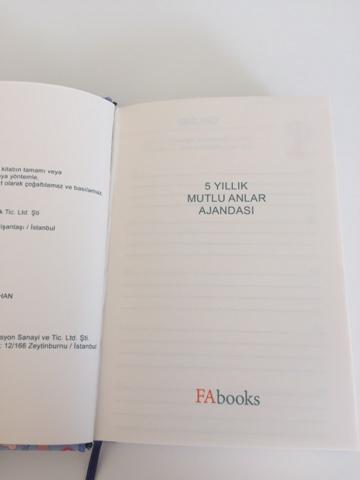 Fabooks 5 Yıllık Mutlu Anlar Ajandası