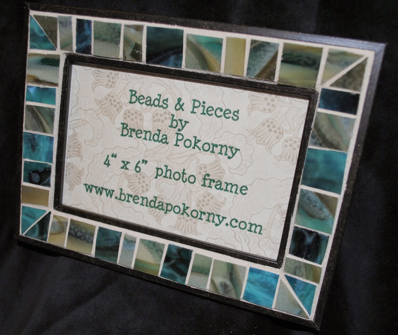 "Teal, Camel, Cypress, Sand 4"" x 6"" Mosaic Photo Frame MOF1420"