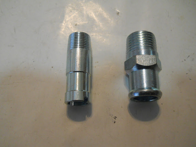 1953-55 and 1963-66 heater fitting on left and 1956-62 heater fitting on the right.. 9.00 each