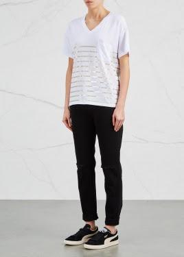 white striped cotton blend t-shirt