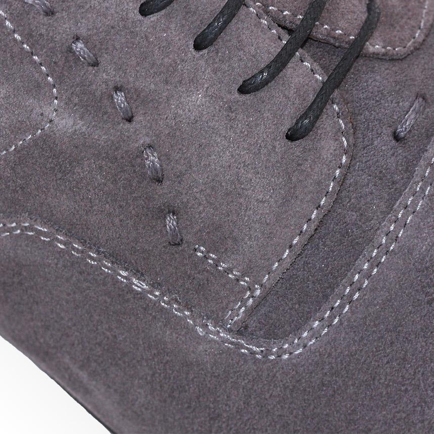Pantofi Andre Piele Intoarsa, Piele Naturala 100%,pe Gri