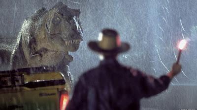 Ian Malcom con el T-Rex en Parque Jurásico