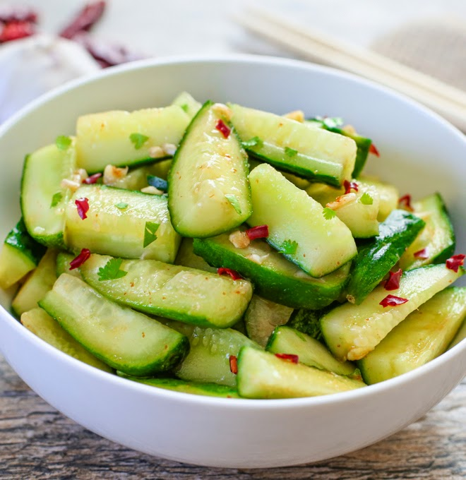 Sriracha Chinese Cucumber Salad - Kirbie's Cravings