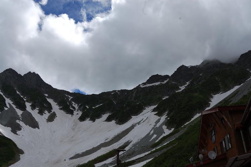 涸沢小屋から見た前穂高岳