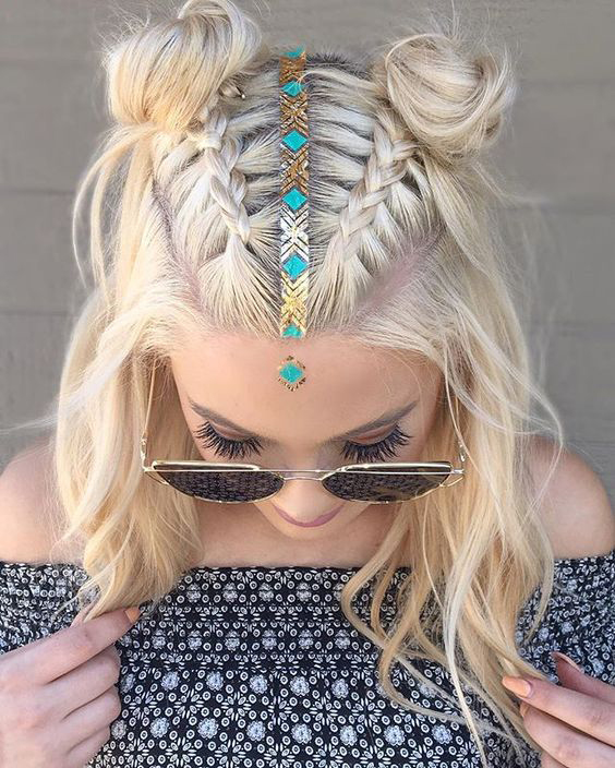 DOUBLE BRAIDED BUNS FOR ATTRACTIVE LADY IN THIS SUMMER 4