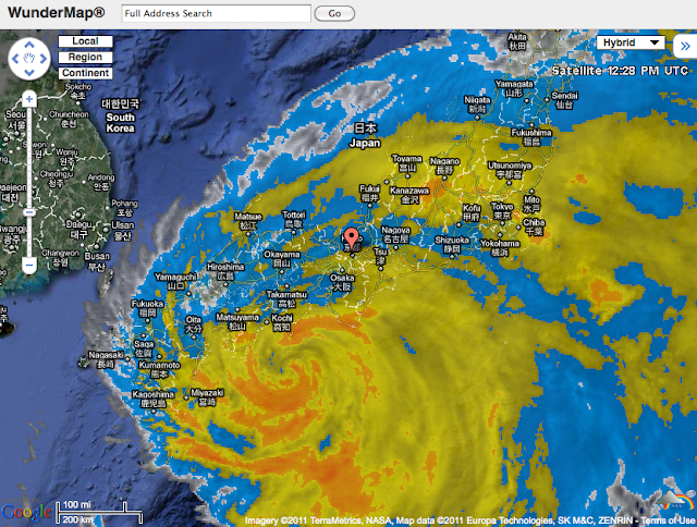Current screenshot of Typhoon Ma-on covering nearly all of Japan.