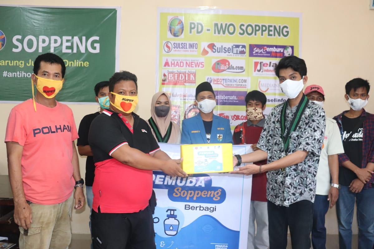 IWO Soppeng Terima Kunjungan Gabungan Organisasi Kepemudaan, Salurkan Bantuan Masker dan Anti Septic