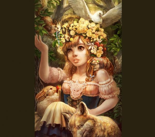 Little Girl With Animals, Fairies 3