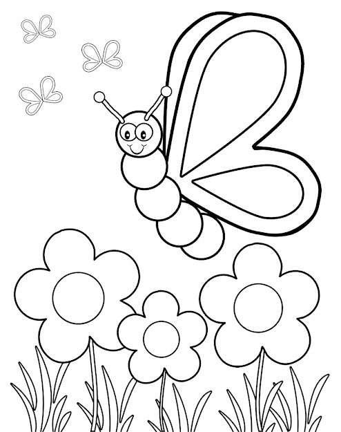 Butterfly Viewing Flowers Coloring Pages