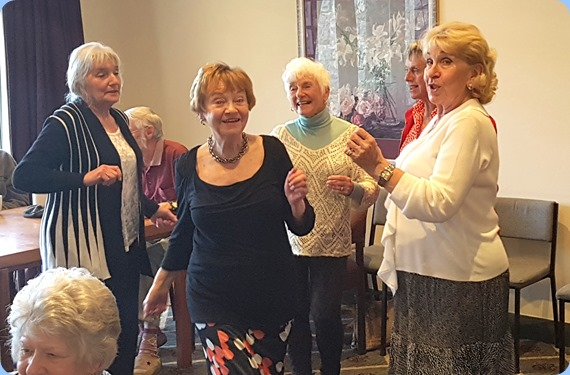 Girls just wanna have fun! L:R Delyse Whorwood, Diane Lyons, Audrey Henden, Jeanette Harding and our host, Margaret Black.
