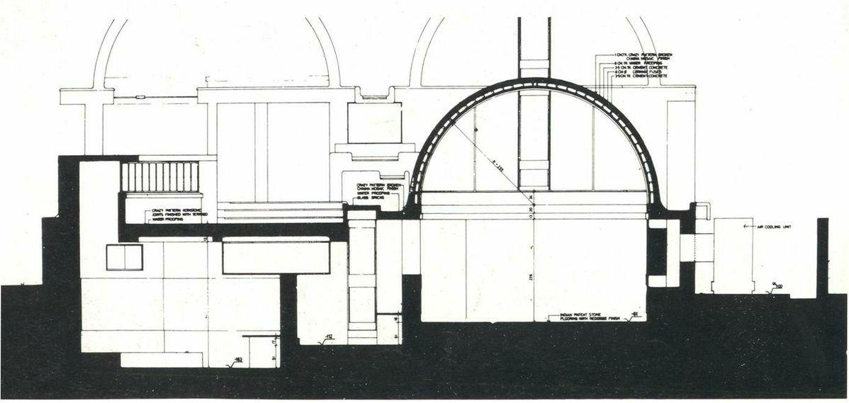 Section through sangath