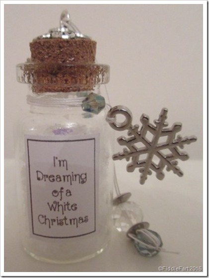 I'm dreaming of a white Christmas tiny bottle Christmas tree decoration
