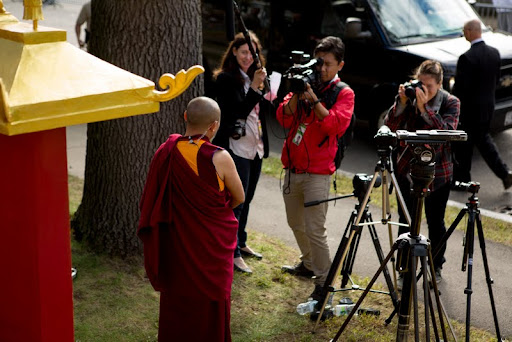 Kurukulla Center resident teacher Geshe Tenley speaks with the media outside Kurukulla Center, Medford, Massachusetts, U.S., October 2012. Photo by Kadri Kurgun.