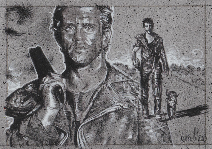 Mel Gibson as Mad Max, ACEO Sketch Card by Jeff Lafferty